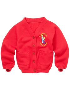 Red Nursery Cardigan - With St Bernadettes RC PS Logo