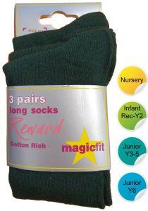 Green Cotton Knee High Socks (3pk) - for Durham High School