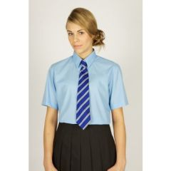 Blue Girls's Short Sleeve Easycare Polycotton Blouses - Twin Pack (NSB)