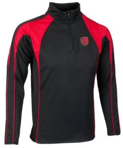 PE Mid Layer Black/Red/White (Optional) (for all students) - Embroidered with Christ's College, Sunderland Logo