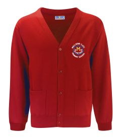 Red Sweat Cardigan - Embroidered with Wallsend St Peters CofE Primary School Logo