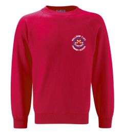 Red Sweatshirt Crew Neck - Embroidered with Wallsend St Peters CofE Primary School Logo