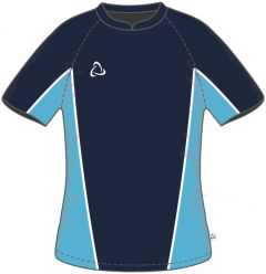 Girls Navy/Sky PE T-Shirt - Embroidered with Benfield School logo