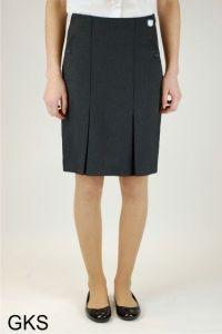 Graphite Grey Senior Twin Pleat Skirt (GKS) - Embroidered with Ashington Academy School Logo
