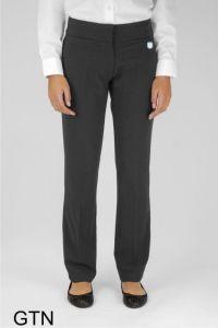 Graphite Grey Senior Girls Twin Pocket Trouser (GTN) - Embroidered with Ashington Academy School Logo