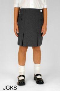 Graphite Grey Junior Twin Pleat Skirt (JGKS) - Embroidered with Ashington Academy School Logo