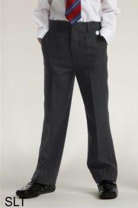 Grey Boys Junior Slim Leg Trouser (SLT) - Embroidered with Ashington Academy School Logo