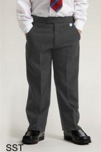 Grey Boys Junior Sturdy Fit Trouser (SST) - Embroidered with Ashington Academy School Logo