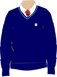 Navy/Sky Trim Knitted V-neck Jumper - Embroidered with Ashington Academy logo