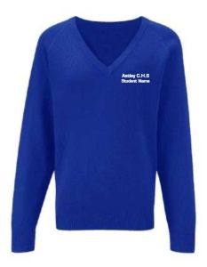 Royal Knitted V-Neck Jumper Embroidered with Astley High School Logo (NAMED)
