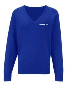 Royal Knitted V-Neck Jumper Embroidered with Astley High School Logo (No Name)