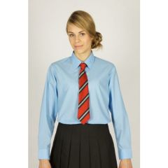 Blue Girls's Long Sleeve Easycare Polycotton Blouses - Twin Pack (NLB)