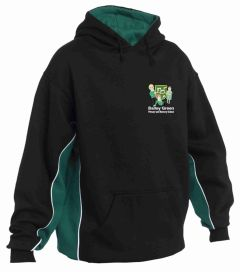 PE Hoodie - Black/Emerald/White  - Embroidered with Bailey Green Primary School Logo + Printed on Back