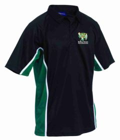 PE Polo - Black/Emerald/White  - Embroidered with Bailey Green Primary School Logo