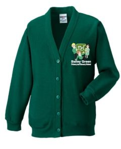 Bottle Green Cardigan - Embroidered With Bailey Green Primary School Logo