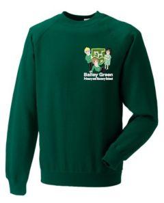 Bottle Green Sweatshirt (Crew Neck) - Embroidered With Bailey Green Primary School Logo