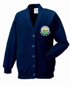 Navy Cardigan - Embroidered With Battle Hill Primary School Logo