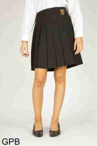 Black Senior Stitch Down Pleat Skirt (GPB) - Embroidered with Ponteland High School Logo