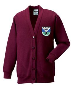 Burgundy Cardigan - Embroidered With Beacon Hill School Logo