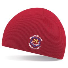Red Beannie Hat - Embroidered with Wallsend St Peters CofE Primary School Logo