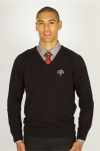 Black V'Neck Cotton Non Fitted Jumper embroidered with the Belmont Community School Logo