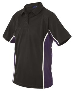 Black/Purple PE Fitted Polo Shirt (G925)- For Belmont School (Compulsory)