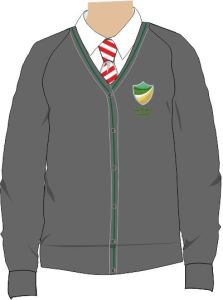 Grey/Green Trim Cardigan - Embroidered with Bedlington Academy School Logo