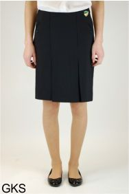 Black Senior Twin Pleat Skirt (GKS) - Embroidered with Bedlington Academy School Logo