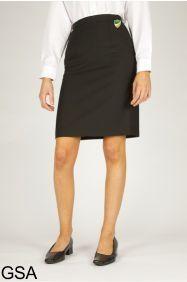 Black Back Vent Skirt (GSA) - Embroidered with Bedlington Academy School Logo