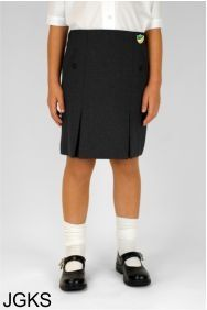 Black Junior Twin Pleat Skirt (JGKS) - Embroidered with Bedlington Academy School Logo