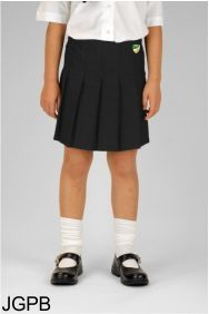 Black Junior Stitch Down Pleat Skirt (JGPB) - Embroidered with Bedlington Academy School Logo