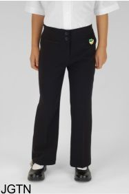 Black Junior Girls Twin Pocket Trouser (JGTN) - Embroidered with Bedlington Academy School Logo
