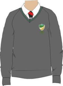 Grey/Green Trim Jumper - Embroidered with Bedlington Academy School Logo