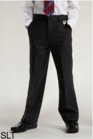 Boys Black Junior Slim Leg Trouser (SLT) - Embroidered with Bedlington Academy School Logo