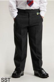 Boys Black Junior Sturdy Fit Trouser (SST) - Embroidered with Bedlington Academy School Logo