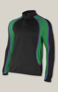 Black, Emerald and Purple Rugby Top - Embroidered with Hope Valley College logo