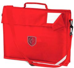 Red Bookbag With Strap - Embroidered With Christ's College, Sunderland Logo