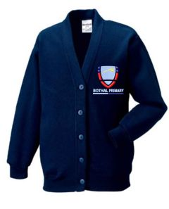 Navy Sweat Cardigan - Embroidered with Bothal Primary School logo