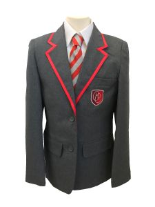 Grey/Red Trim Boys Contemporary Blazer (ABB) (Essential for all students) - Embroidered with Christ's College, Sunderland Logo