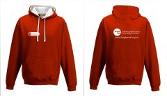 Red/White Hoodie - Printed Front & Back with Bright Red Charity logos