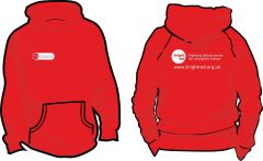 Red Hoodie - Printed Front & Back with Bright Red Charity logos