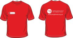 Red T-Shirt - Printed Front & Back with Bright Red Charity logos
