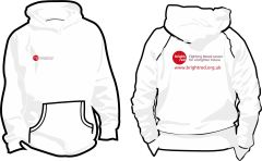 White Hoodie - Printed Front & Back with Bright Red Charity logos