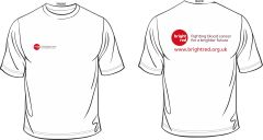 White T-Shirt - Printed Front & Back with Bright Red Charity logos