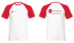 White/Red Contrast Baseball T-shirt - Printed Front & Back with Bright Red Charity logos