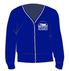 Royal/White Trim Cardigan - Embroidered with Browney Academy School Logo