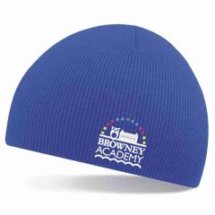 Navy Knitted Beannie Hat - Embroidered with Browney Academy School Logo
