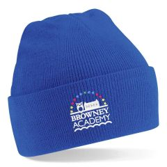 Royal Knitted Hat - Embroidered with Browney Academy School Logo