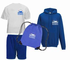 FULL PE Kit Deal 1 (White PE Polo, Navy Shorts, Royal PE Bag & Hoodie) - Embroidered With Browney Academy School Logo