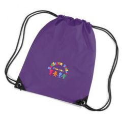 Purple PE Bag - Embroidered with Bedlington Station Primary School Logo